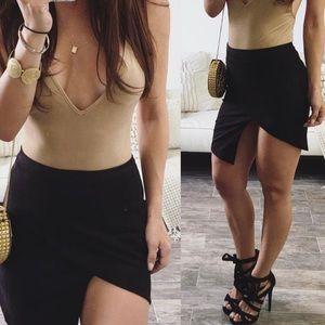 Dresses & Skirts - NWT Gray Suede Asymmetrical Mini Skirt